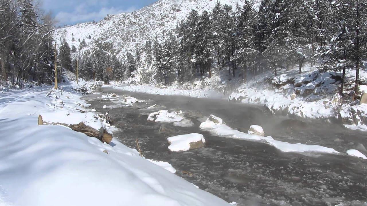 Ice Dam break along US 34 in Big Thompson Canyon February 2014