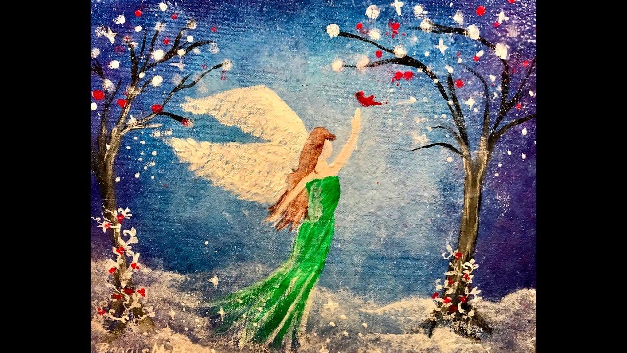 The Christmas Angel DIY Acrylic Painting Lesson