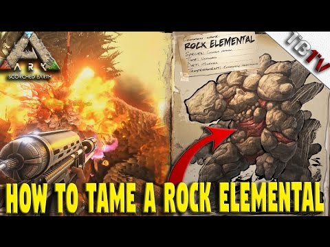 How to Tame a ROCK ELEMENTAL Ark!  - FLAMETHROWER -  Rock Elemental Taming! Ark Scorched Earth S1E5
