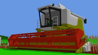 Green Harvester and Orange #Tractor - Farm Work | Farmer | harvest of grain | Bajka Traktor Żniwa