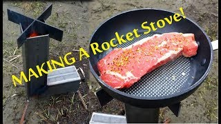 Rocket Stove Grill Built From Scratch - Basic Design - Steak and Eggs