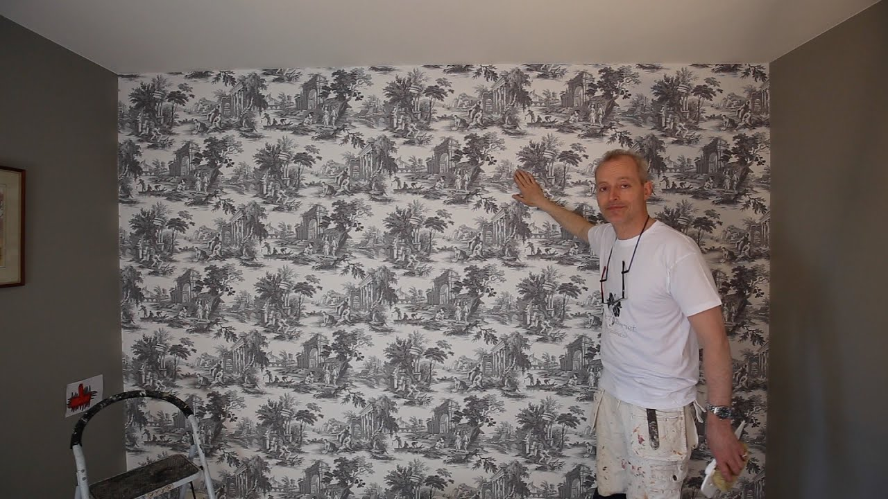 how to wallpaper a feature wall youtube. Black Bedroom Furniture Sets. Home Design Ideas