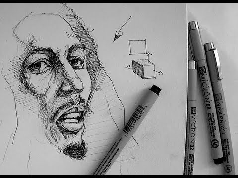 Pen ink drawing tutorials how to draw a realistic portrait of bob marley