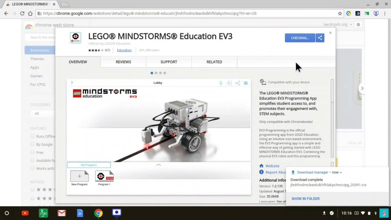 Installing the Lego EV3 Education Programming app on a Chromebook