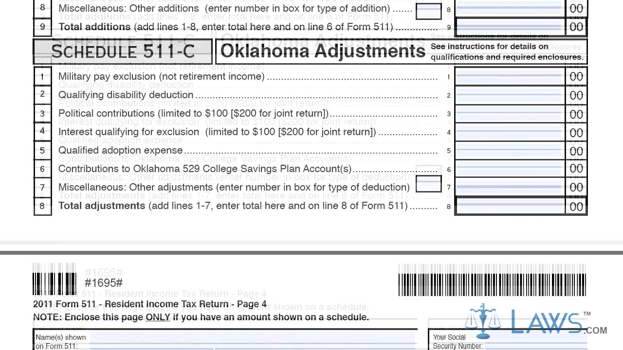 Form 511 Oklahoma Resident Income Tax Return and Sales Tax Relief ...