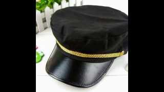 LOCOMOLIFE Women Army Military Navy Marine Captain Skipper Cadet Hat Cap