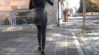 walking in different 6inch heels and leatheroutfits