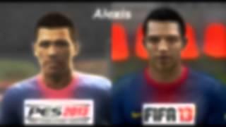 PES 2013 vs FIFA 13 FACE Comparison BARCELONA FC