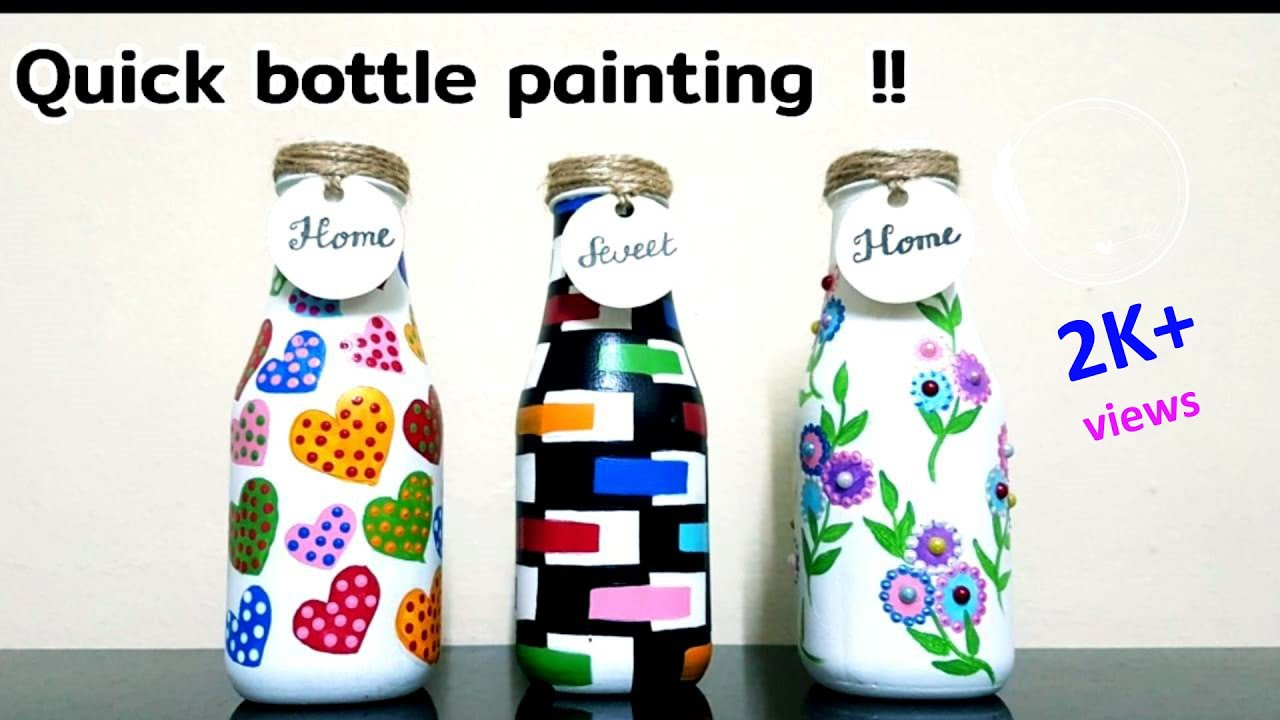 3 Quick Bottle Painting Ideas / Bottle Art / Glass Bottle Craft/ DIY Bottle Decoration / Niviz Ep 64