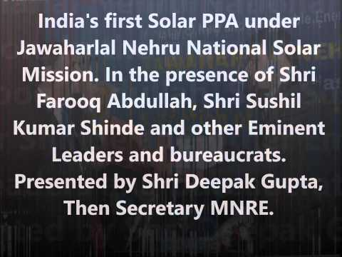 Anil Jain Refex Energy CEO at India's first Solar PPA under Jawaharlal Nehru National Solar Mission