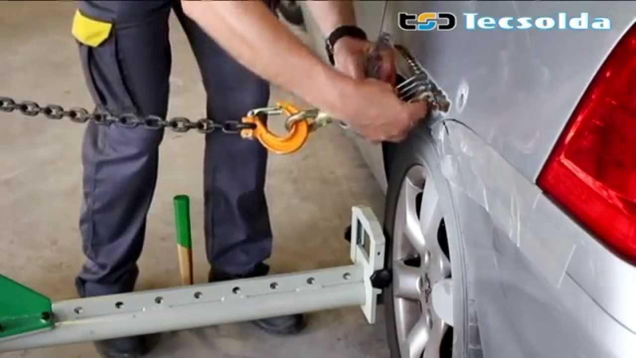 Reparación de la carrocería con estirador de la chapa - YouTube