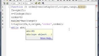 Serie de Taylor ejemplo utilizando Matlab