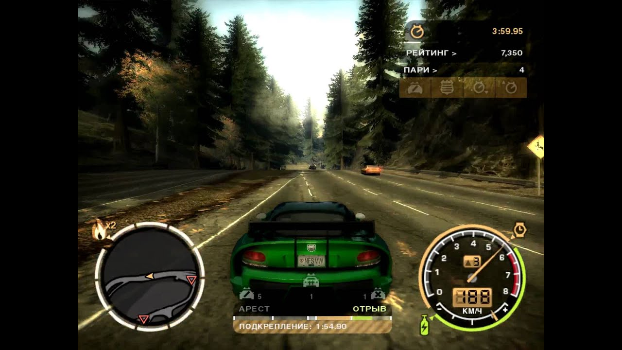 Need For Speed Most Wanted погоня Dodge Viper Srt 10 Youtube