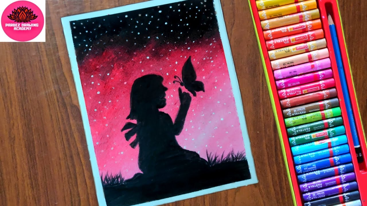 Girl with Butterfly Night Scenery Drawing with Oil Pastels Step by Step #1
