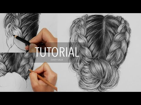 How to draw realistic hair with charcoal and white pastel pencil | Drawing Tutorial Step by Step