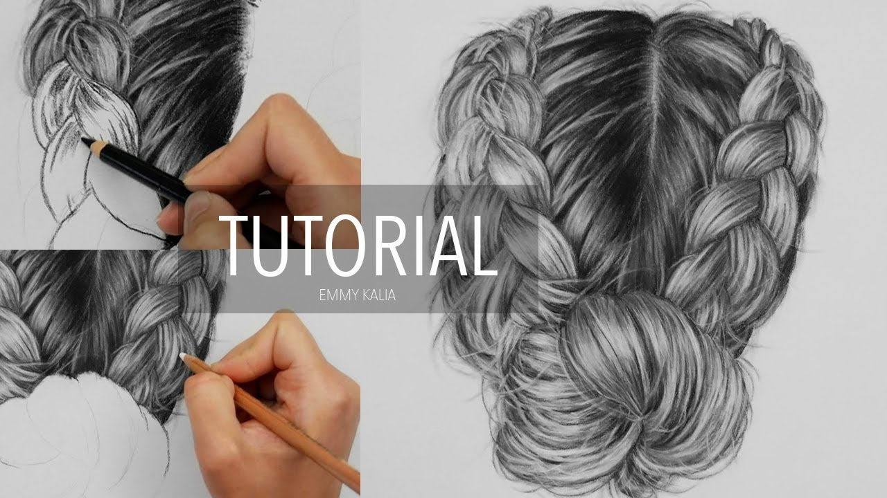 How to draw realistic hair with charcoal and white pastel pencil drawing tutorial step by step