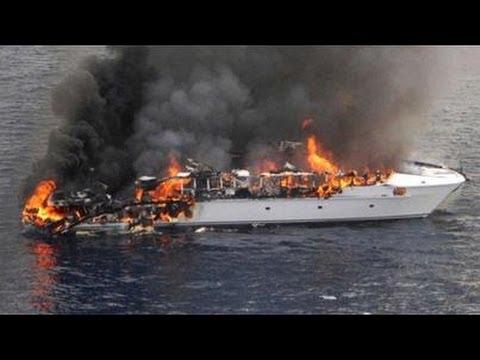Super Yacht FIRE Super Rich Passengers Crew Escape Luxury Yacht Sinks In  High Seas   YouTube