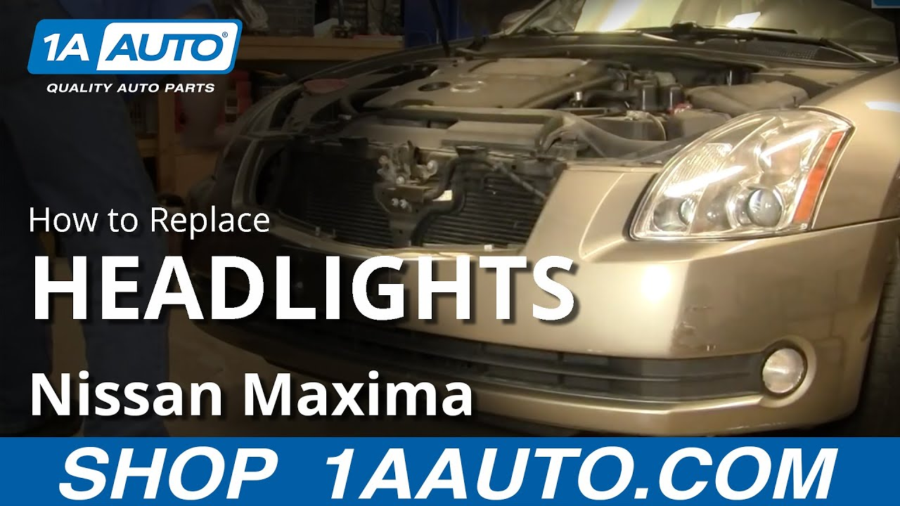 Nissan Maxima Wiring Diagram Origami Motorcycle How To Install Replace Headlight And Bulb 04-08 1aauto.com - Youtube