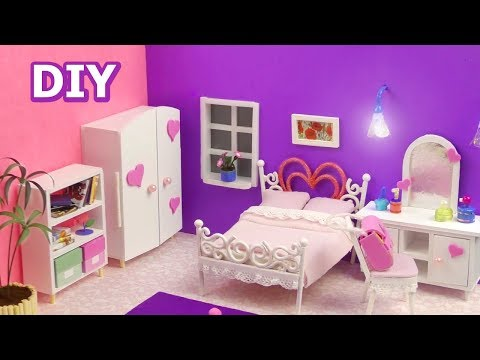 DIY Miniature Dollhouse Bedroom with furniture
