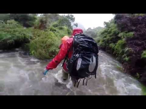 (1080p) Hiking to basecamp along Limahuli stream in heavy rain