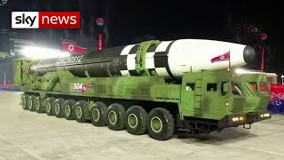 North Korea unveils huge new 'ballistic missile' in military parade