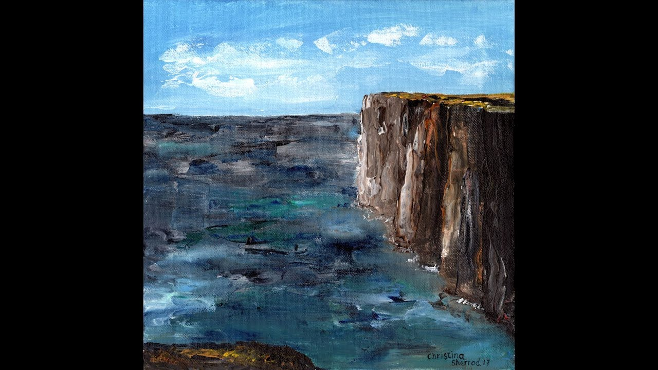 Seaside Cliffs Palette Knife Acrylic Painting Tutorial
