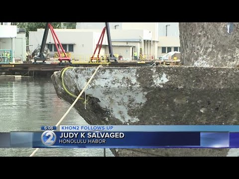 Judy K emerges from Honolulu Harbor thanks to Army divers