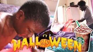 EXTREME VAMPIRE FRAPPICCINO PRANK ON MY LITTLE BROTHER!!! (HE GETS PISSED!!) | IamAKA