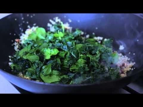 Freekeh, Kale and Egg White-colored Breakfast Bowl
