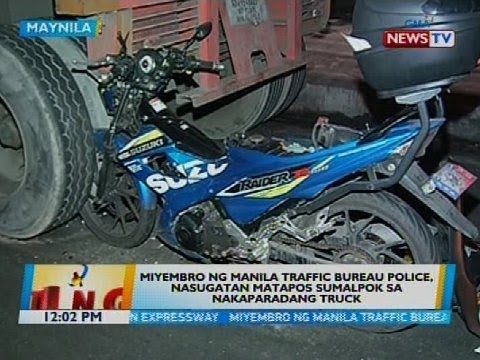 Miyembro ng Manila traffic bureau police, nasugatan matapos sumalpok sa nakaparadang truck
