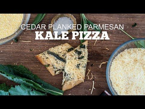Parmesan Kale Cedar Planked Pizza