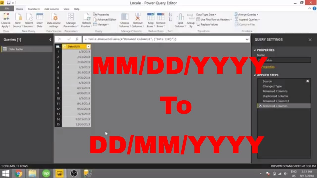 Power BI - Date Formatting (MM/DD/YYYY to DD/MM/YYYY)