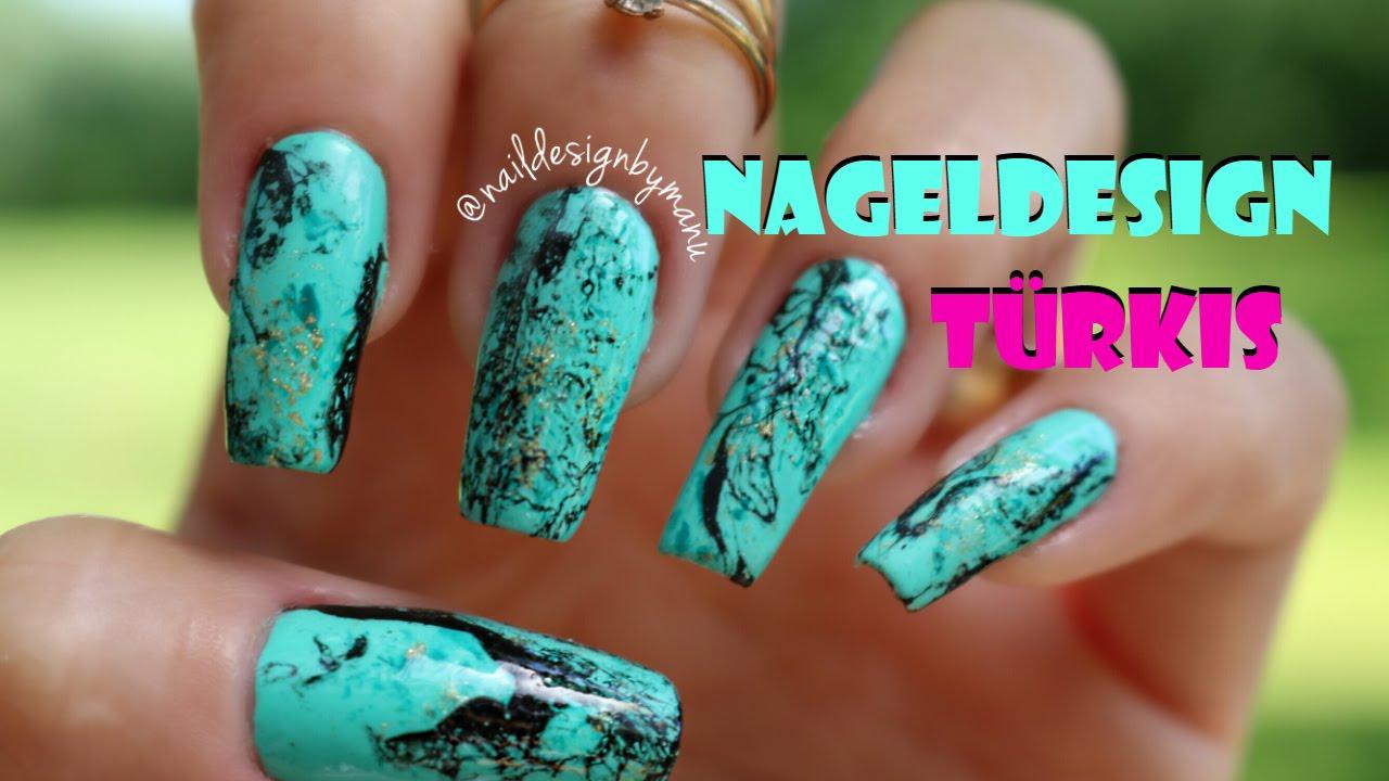 Einfaches Türkis Nageldesign für Anfänger / Easy Turquoise nail art ...