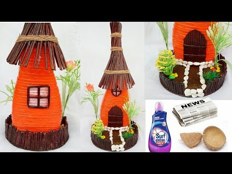 Fairy house home decor from Newspaper and old bottle | Art from Waste