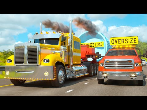 The Highway Adventure with Wilson the Semi-Truck & Bob the Truck | Space Rocket Delivery (RCH SPACE)