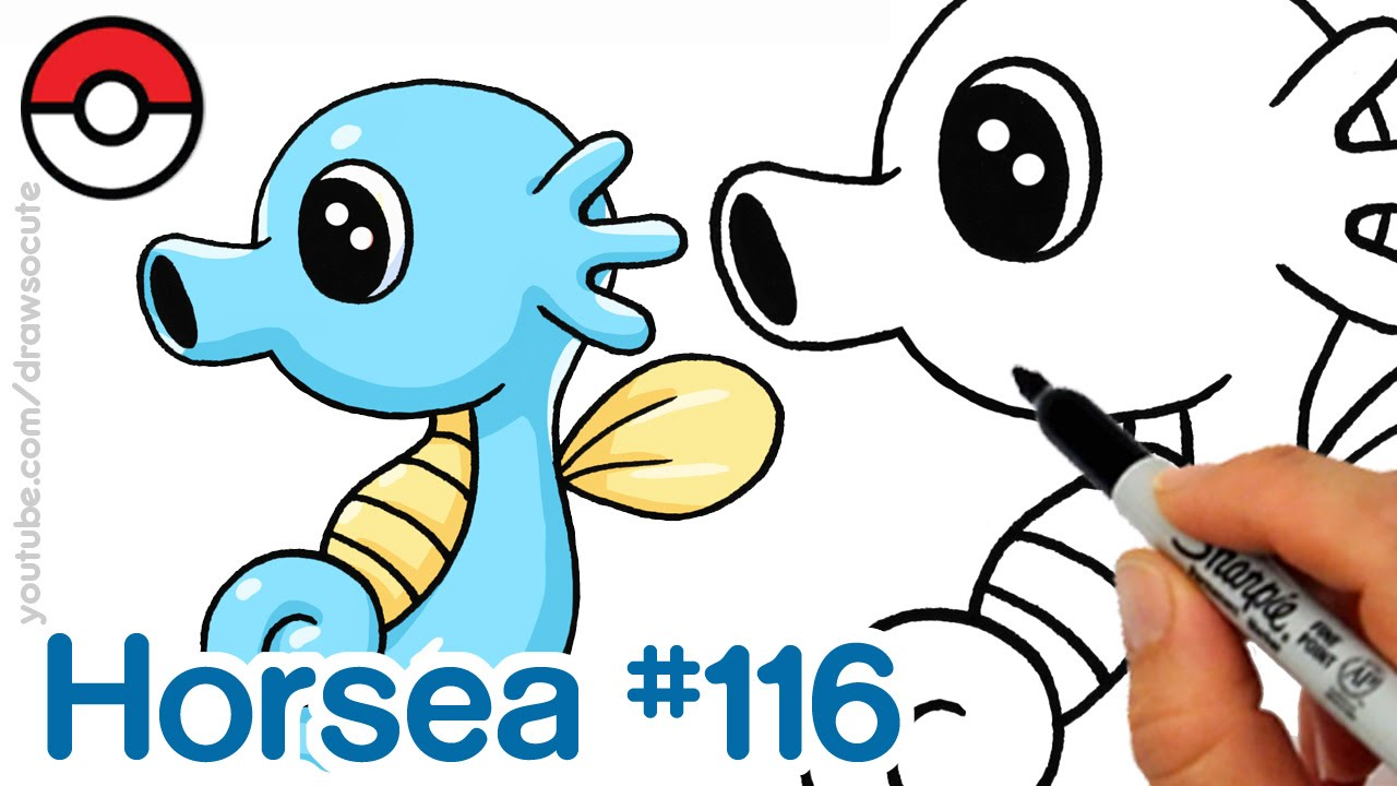 How to Draw Pokemon Horsea Cute step by step Easy - YouTube
