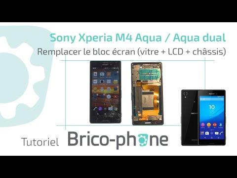 Tuto Sony Xperia M4 Aqua / Aqua dual Remplacer le bloc écran vitre + LCD + Chassis HD