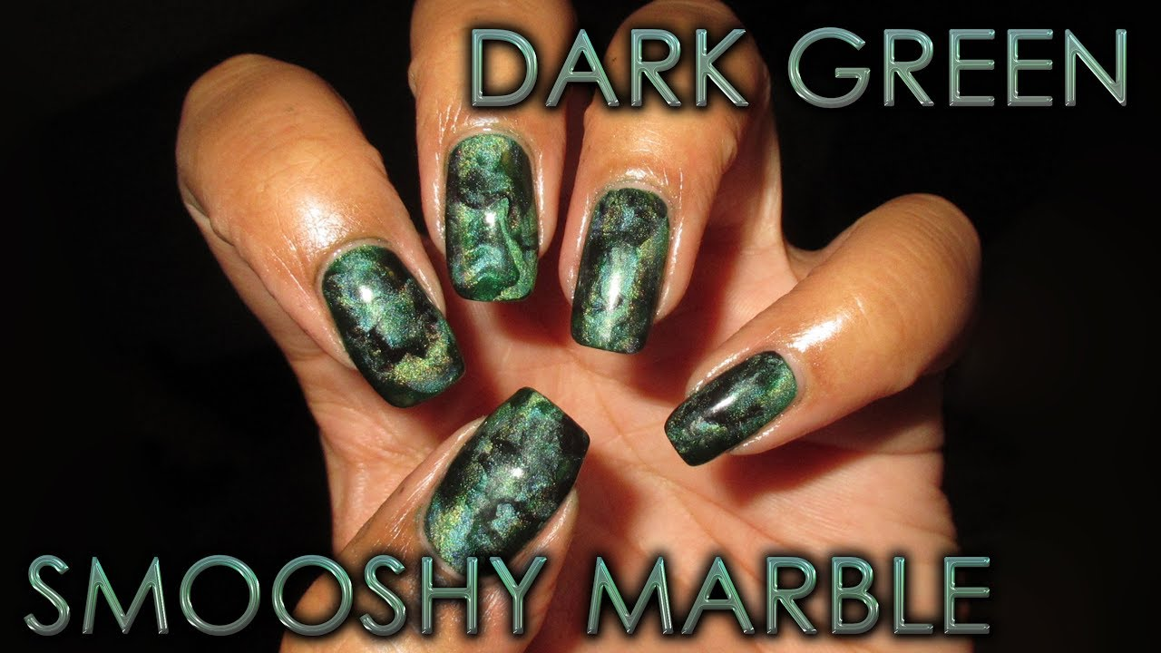 Dark Green Smooshy Marble | Depression Awareness | DIY Nail Art ...