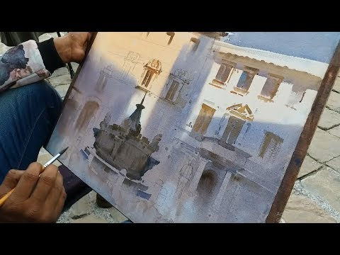 Plein Air Watercolour Landscape Painting | Italy | Ganesh Hire