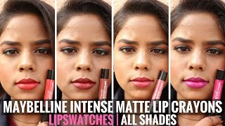 Maybelline Color Show Intense Lip Crayon Lip Swatches & Review | All Shades