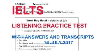 IETLS listening practice test with answers and transcripts 16 July 2017