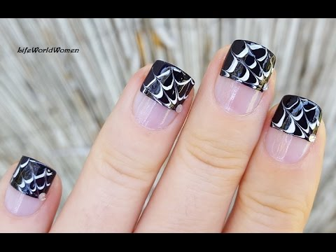 Drag Marble HALLOWEEN FRENCH MANICURE / Spider Web Needle ...
