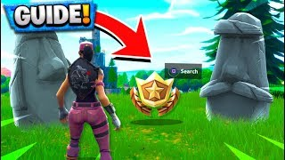SEARCH WHERE THE STONE HEADS ARE LOOKING CHALLENGE! Fortnite Battle Royale Challenges