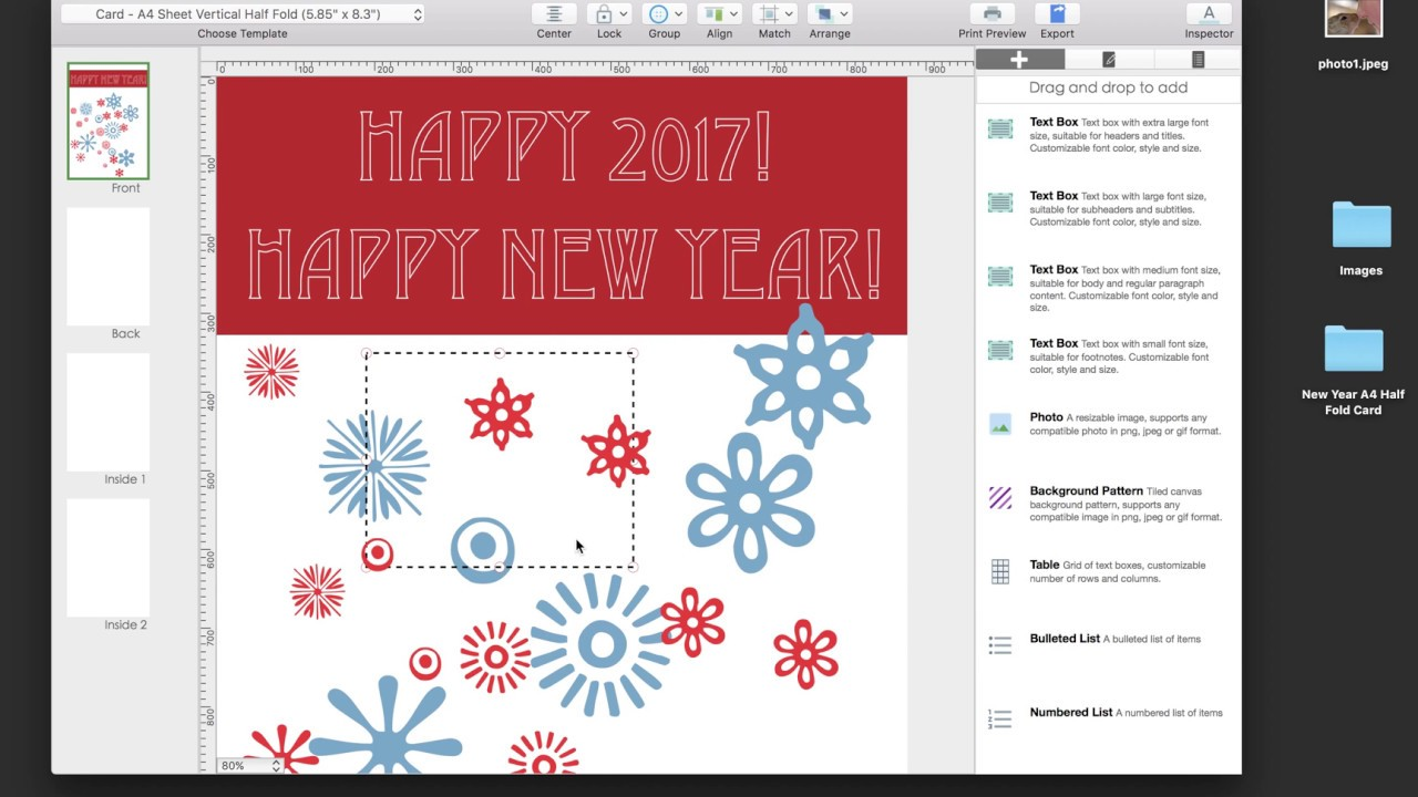Create And Print A A4 Half Fold Greeting Card Youtube
