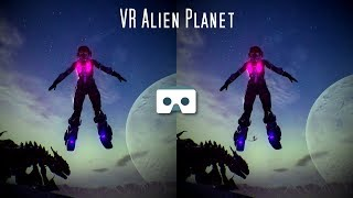 VR Space Odyssey: Virtual Reality Space Girl lost in space on Alien Planet