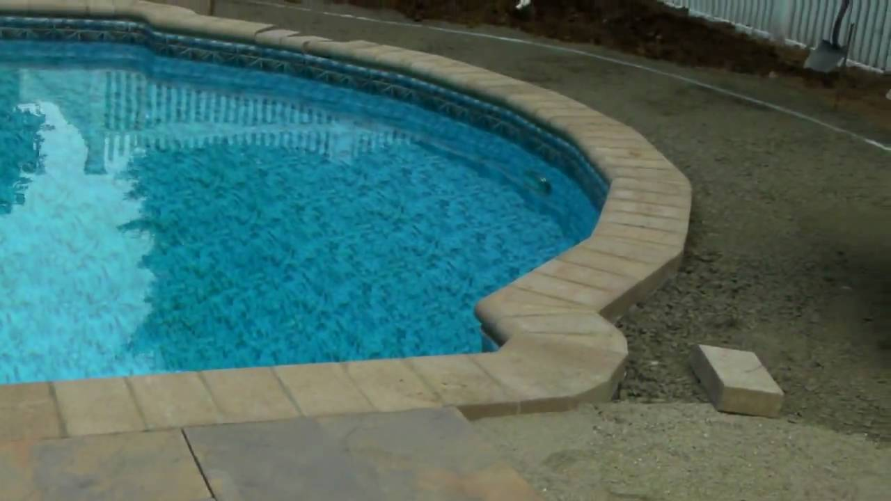 bullnose coping and ribbon stone pool patio - youtube