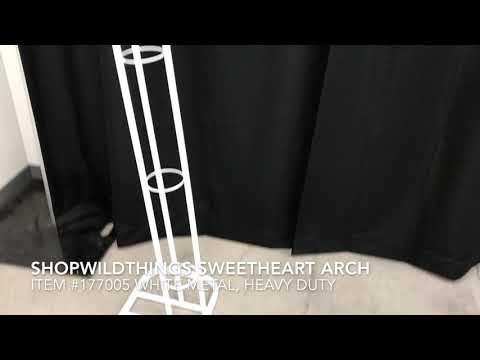 ShopWildThings Sweetheart Heart Wedding Arch White Metal Video