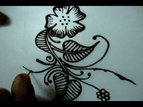 Simple floral henna design tutorial 2 (How to draw for ...
