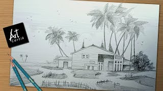 How to Draw and Shade Simple Landscape | Drawing