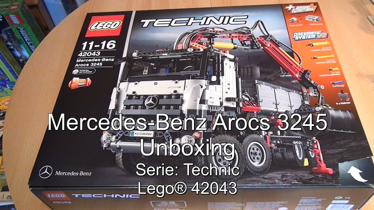 unboxing lego mercedes benz arocs 3245 set 42043 technic. Black Bedroom Furniture Sets. Home Design Ideas